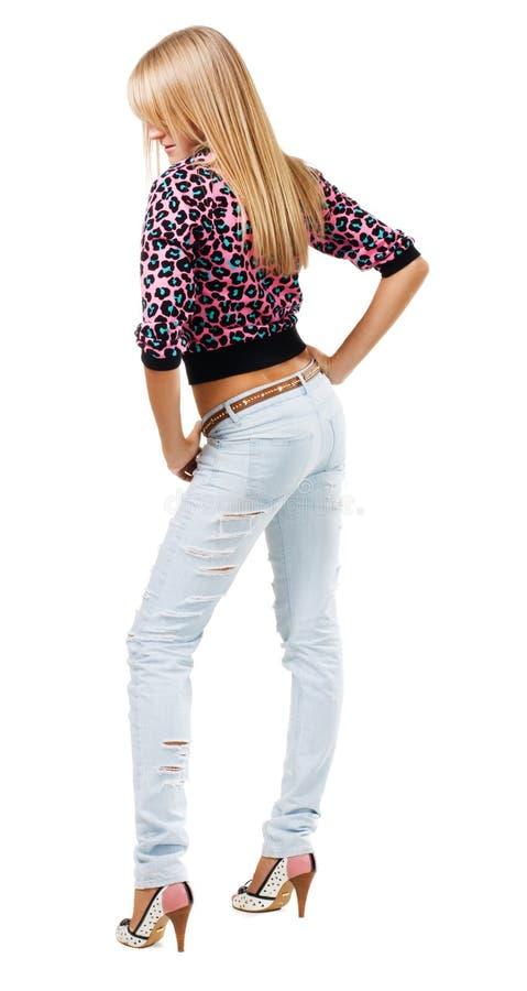 Abbastanza blonde in blue jeans immagine stock