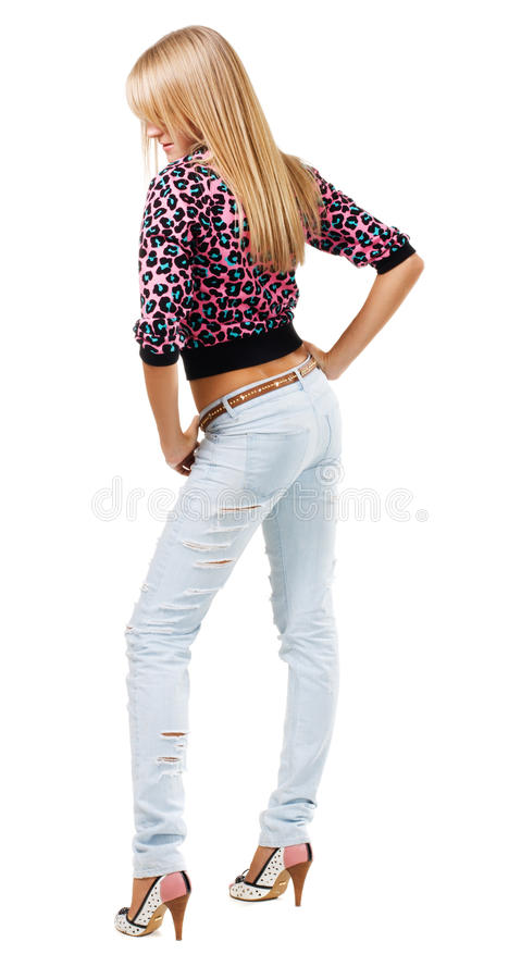 Abbastanza blonde in blue jeans fotografia stock