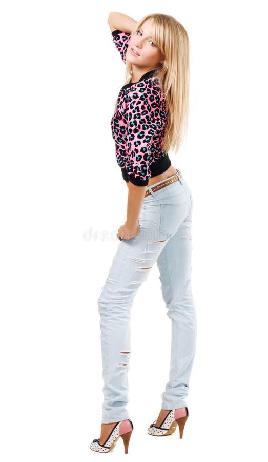 Abbastanza blonde in vestiti alla moda immagine stock libera da diritti