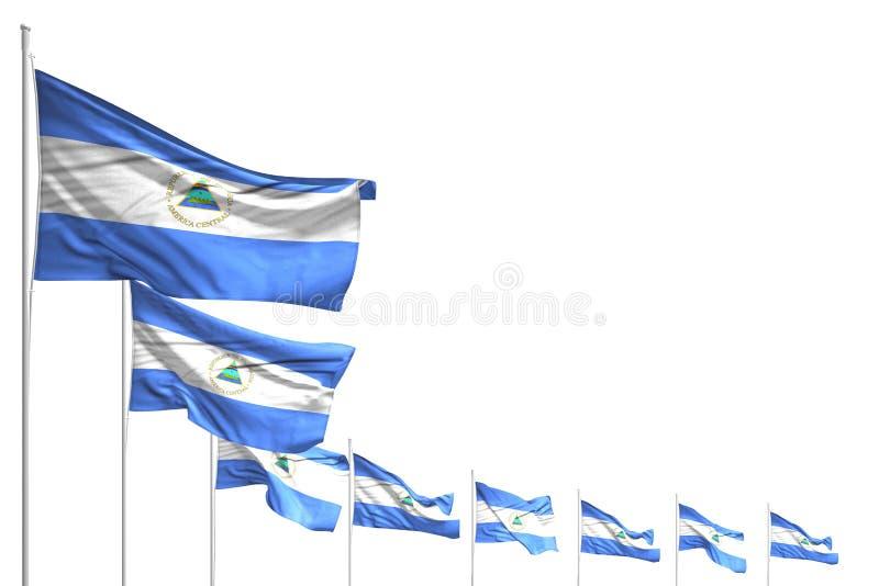 Abbastanza molte bandiere del Nicaragua hanno disposto la diagonale isolata su bianco con il posto per il vostro contenuto - tutt illustrazione di stock