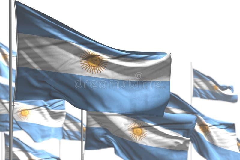 Abbastanza molte bandiere dell'Argentina sono ondeggiare isolate sull'immagine bianco- con bokeh - tutta l'illustrazione della ba illustrazione vettoriale