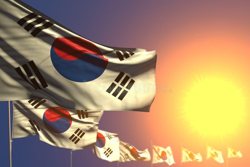 Abbastanza molte bandiere della Repubblica Coreana Corea del Sud sulla diagonale disposta tramonto con bokeh e sullo spazio per t royalty illustrazione gratis