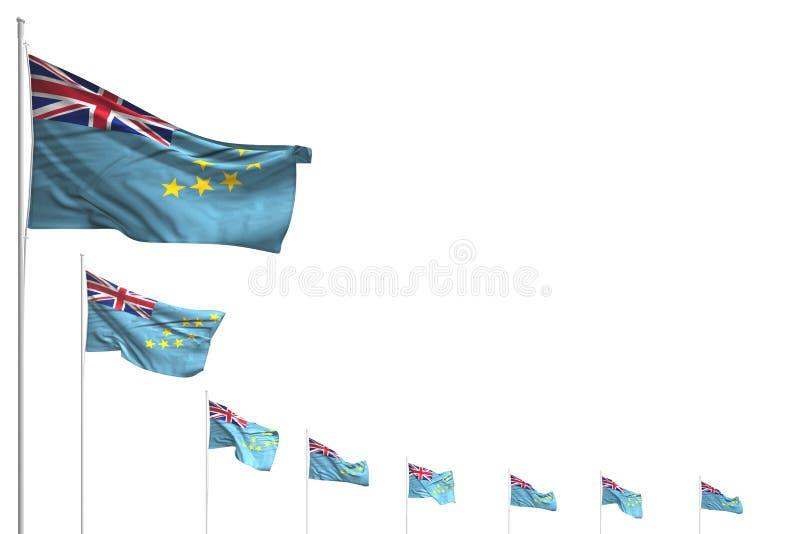 Abbastanza molte bandiere di Tuvalu hanno disposto la diagonale isolata su bianco con il posto per testo - tutta l'illustrazione  royalty illustrazione gratis