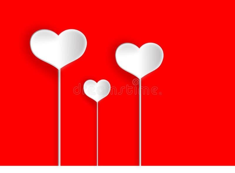 Abbastanza tre cuori bianchi per il giorno di biglietti di S. Valentino royalty illustrazione gratis