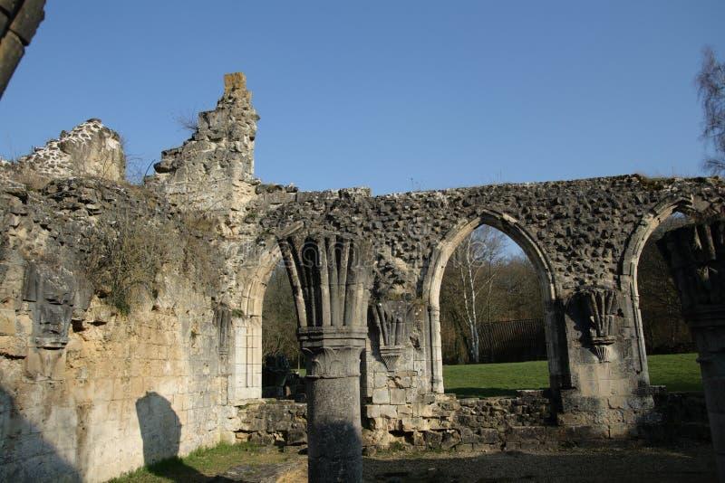Abbay van Vauclair in Aisne, Frankrijk stock foto's
