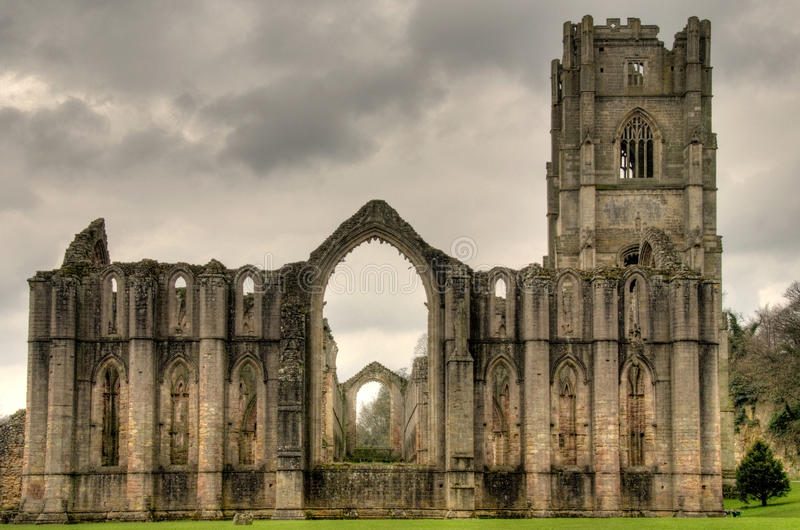 Abbaye de fontaines, Yorkshire du nord photo stock