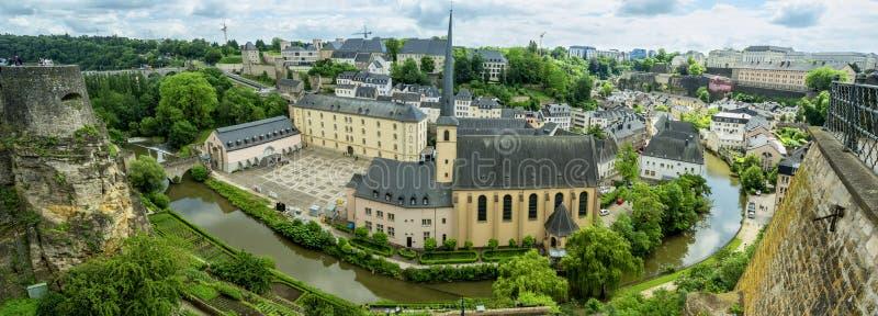 Abbaye de Neumunster在卢森堡 顶视图 图库摄影