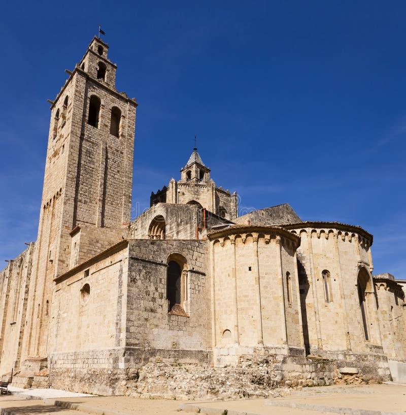 Abbaye romane de Sant Cugat, Barcelone images stock