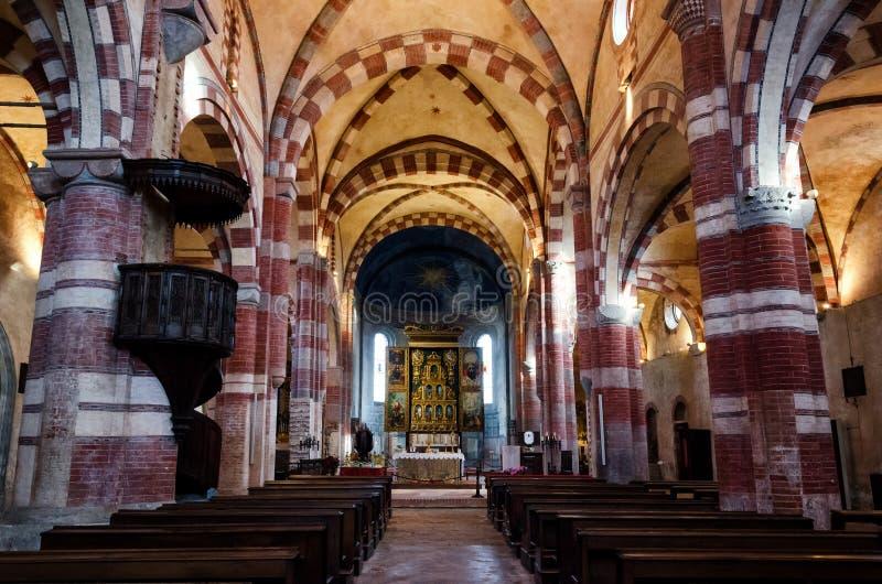 Abbazia di Staffarda italy, central nave stock photo