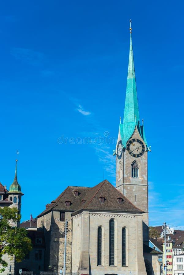 Abbazia imperiale di Fraumunster Reichskloster Fraumunster, Zurigo immagine stock libera da diritti