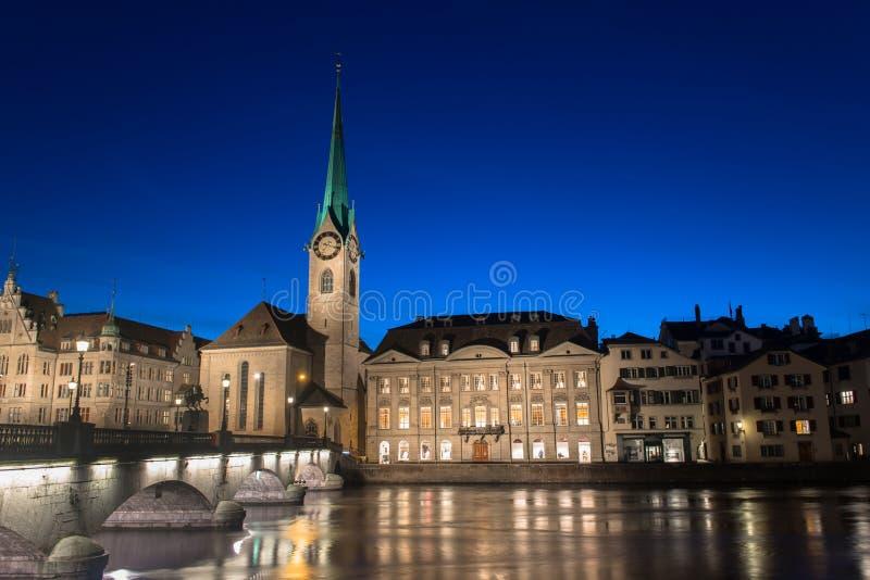Abbazia imperiale di Fraumunster Reichskloster Fraumunster, Zurigo Svizzera fotografia stock libera da diritti