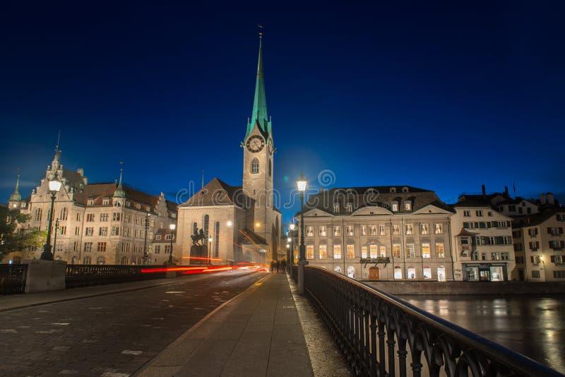 Abbazia imperiale di Fraumunster Reichskloster Fraumunster, Zurigo Svizzera immagine stock libera da diritti