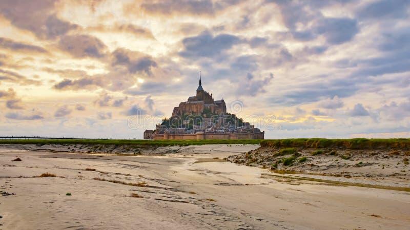 Abbazia medievale Mont Saint Michel, Normandia, Francia fotografia stock