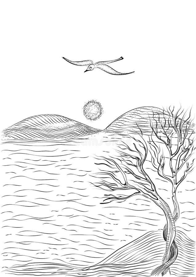 Abbellisca con l'albero su un gabbiano collinoso della riva e di volo di mare royalty illustrazione gratis