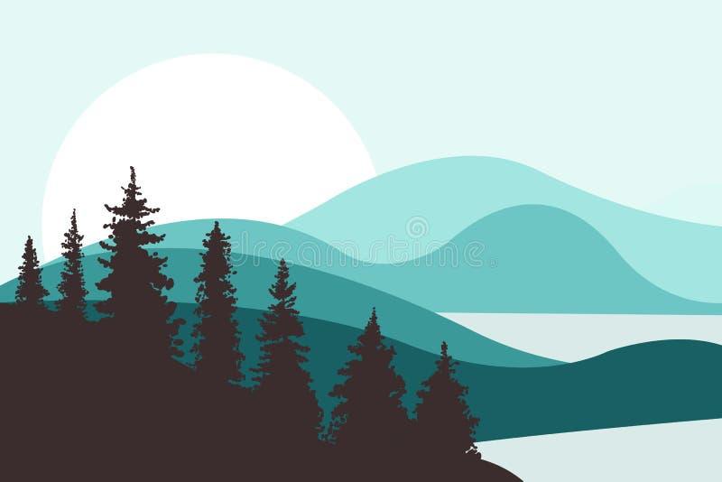 Abbellisca con le colline, le montagne, i laghi, i fiumi ed il sole nei precedenti Abeti nella priorità alta Brown e colori del t illustrazione vettoriale