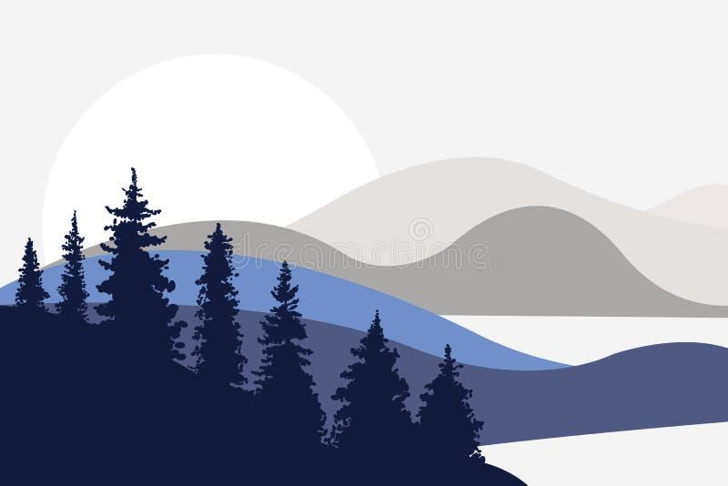 Abbellisca con le colline, le montagne, i laghi, i fiumi ed il sole nei precedenti Abeti nella priorità alta Stile piano royalty illustrazione gratis