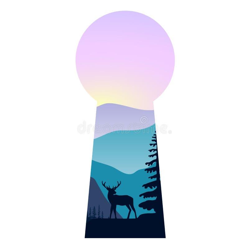 Abbellisca con le montagne, caro, la foschia e la foresta al tramonto Doppia esposizione, vista panoramica, forma del buco della  illustrazione vettoriale