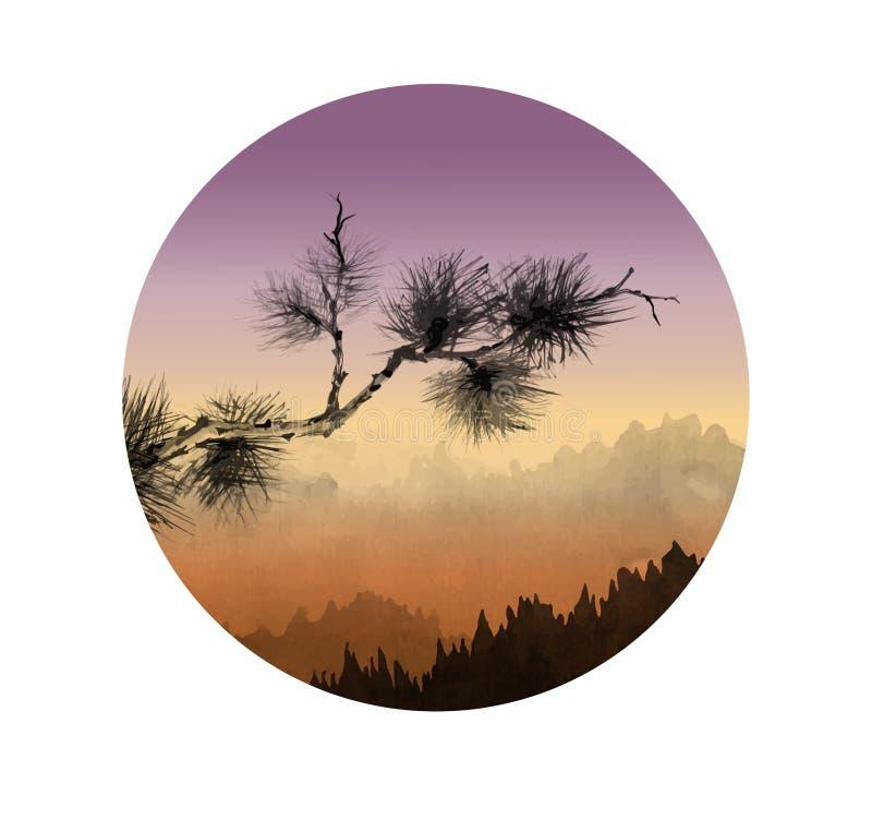 Abbellisca con le montagne ed il ramo di pino all'alba royalty illustrazione gratis