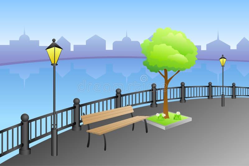 Abbellisca l'illustrazione della lampada del banco del fiume del giorno di estate della città dell'argine illustrazione vettoriale