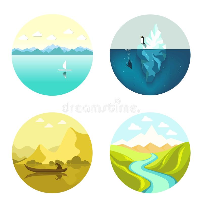 Abbellisca l'insieme del piano di vettore delle icone isolato su fondo bianco illustrazione di stock