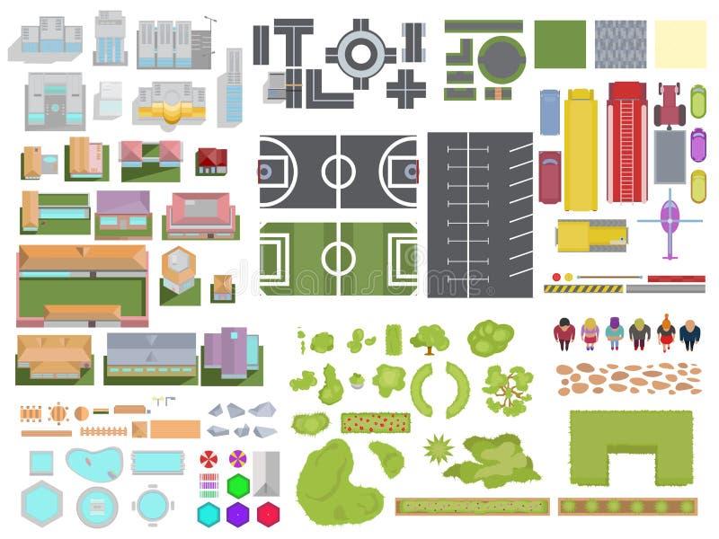 Abbellisca l'insieme di elementi della città isolato su fondo bianco Città t illustrazione di stock
