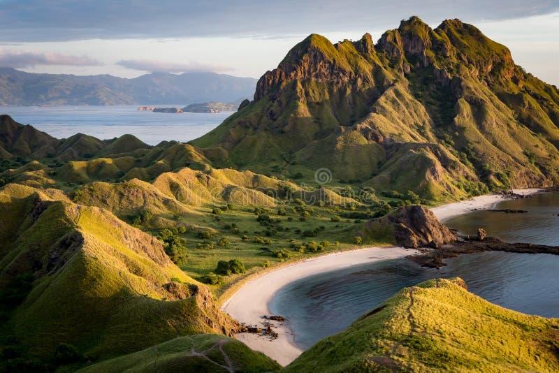 Abbellisca la vista dalla cima dell'isola nelle isole di Komodo, F di Padar immagine stock libera da diritti