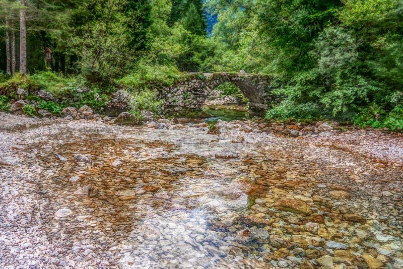 Abbellisca la vista di piccolo vecchio ponte di pietra sopra il fiume Mostnica La BO fotografia stock
