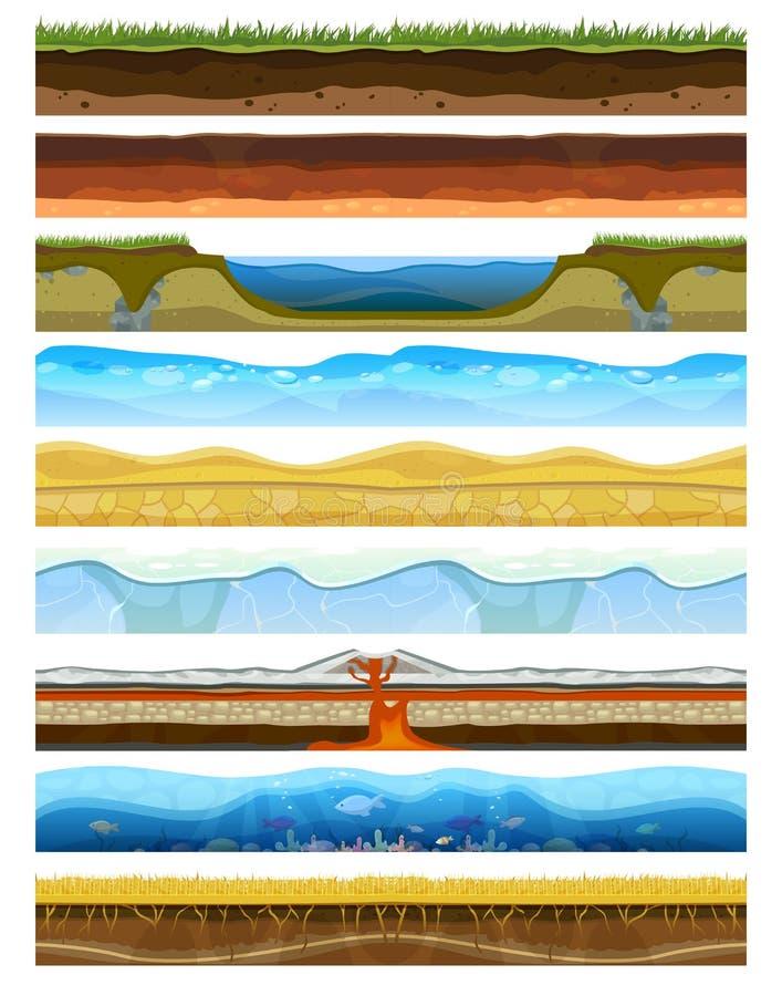 Abbellisca le montagne terrose della sezione del suolo della fetta con il vettore al suolo della terra dell'acqua della natura de illustrazione di stock