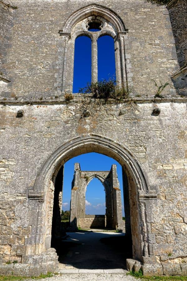Abbey Ancient Ruins gótico medieval idosa em França imagens de stock