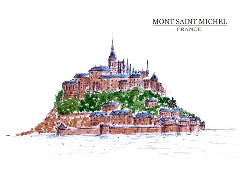 Abbey av Mont Saint-Michel vektor illustrationer