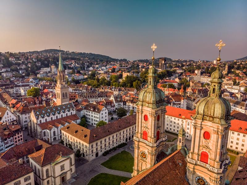Abbey Cathedral of Saint Gall. Beautiful Aerial View of St. Gallen Cityscape Skyline, Abbey Cathedral of Saint Gall in Switzerland stock image