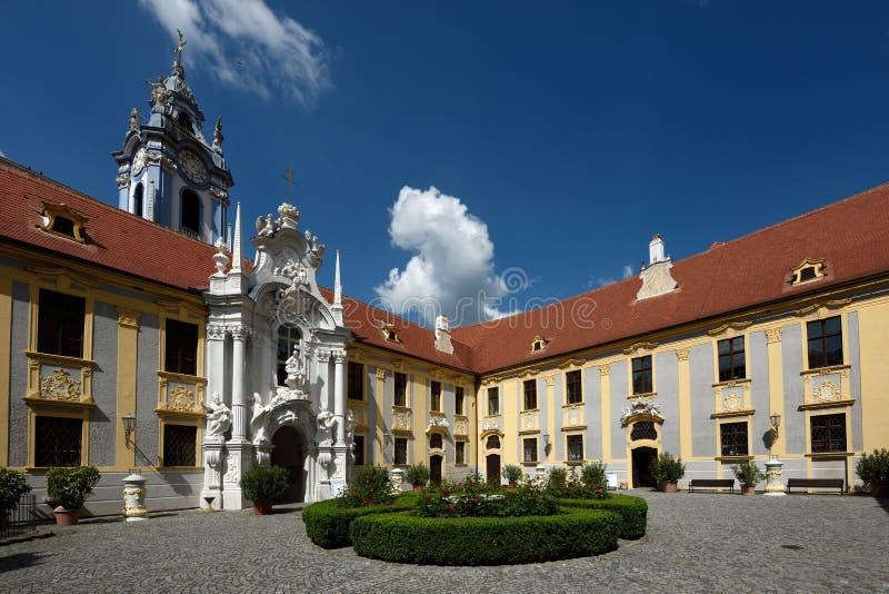 Abbey Church of Durnstein, Wachau, Austria stock photos