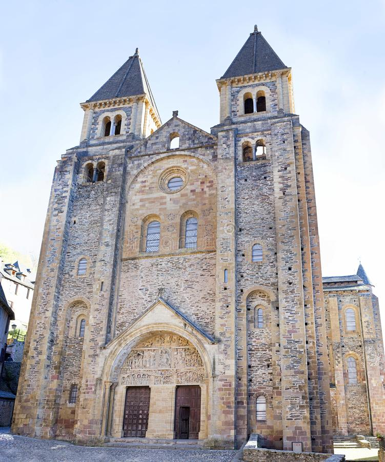 Abbey Church van Heilige Foy, Conques stock foto