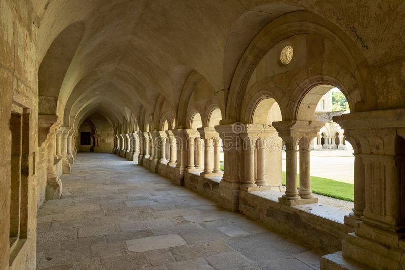 Abbey Cloister and Church Fontenay royalty free stock photography