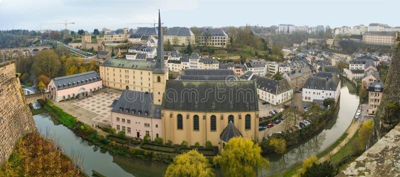 Abbey de Neumunster秋天全景在卢森堡 免版税库存图片