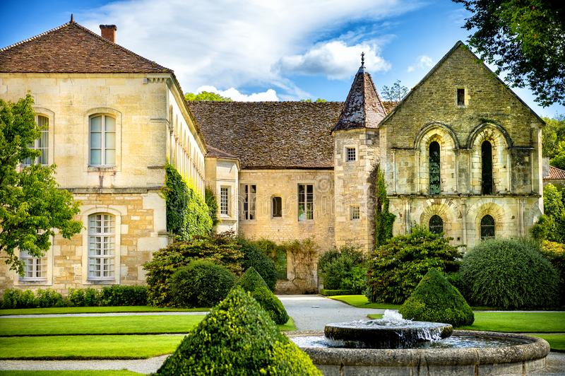 Abbey of Fontenay, Burgundy, France stock images