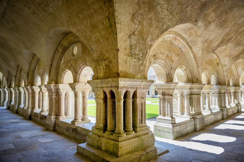 Abbey of Fontenay, Burgundy, France. Interior of famous Cistercian Abbey of Fontenay, a UNESCO World Heritage Site since 1981 royalty free stock images