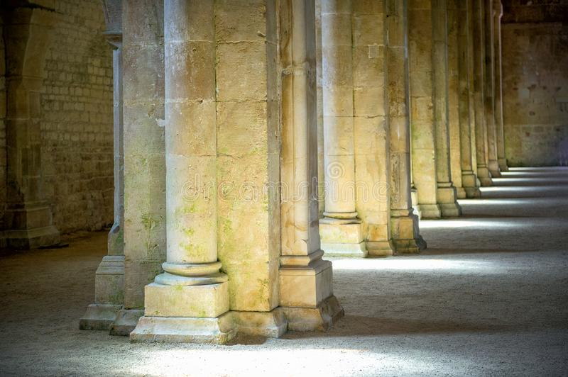 Abbey of Fontenay, Burgundy, France. Interior of famous Cistercian Abbey of Fontenay, a UNESCO World Heritage Site since 1981 stock photography