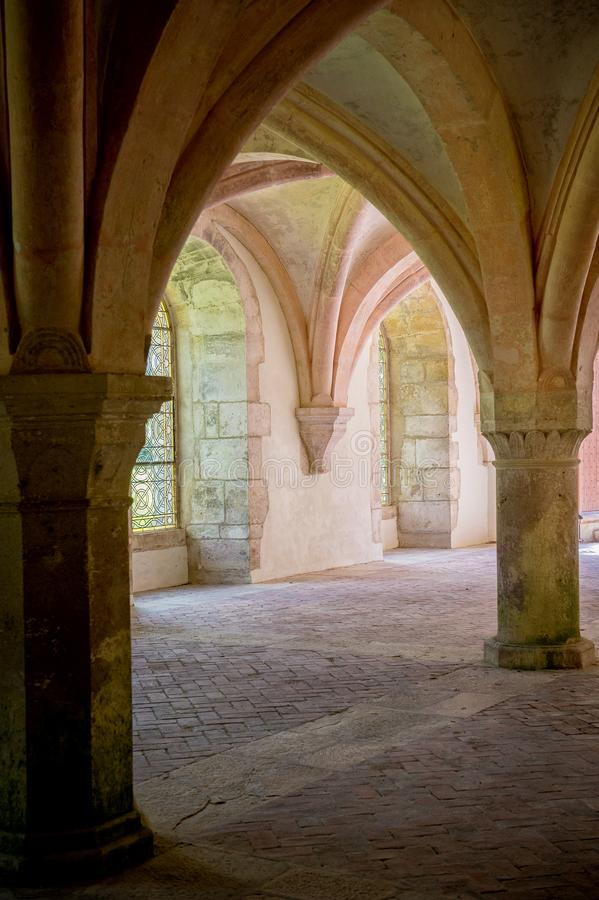 Abbey of Fontenay, Burgundy, France. Interior of famous Cistercian Abbey of Fontenay, a UNESCO World Heritage Site since 1981 royalty free stock image