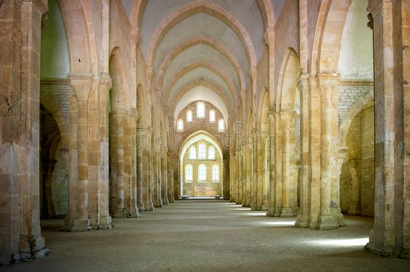 Abbey of Fontenay, Burgundy, France. Interior of famous Cistercian Abbey of Fontenay, a UNESCO World Heritage Site since 1981 stock photos