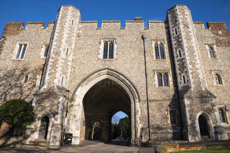 The Abbey Gateway in St. Albans stock images
