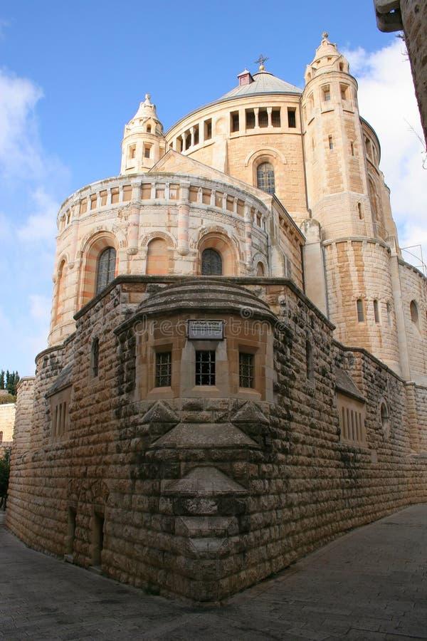 Abbey in Jerusalem. An old abbey in Jerusalem against a clear blue sky stock photos