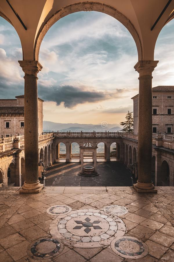 Abbey of Montecassino, seen from the main staircase. Benedictine monastery. Arch and panoramic terrace. royalty free stock photography