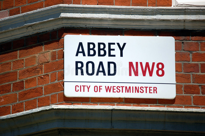Abbey Road. Sign in London, England stock images