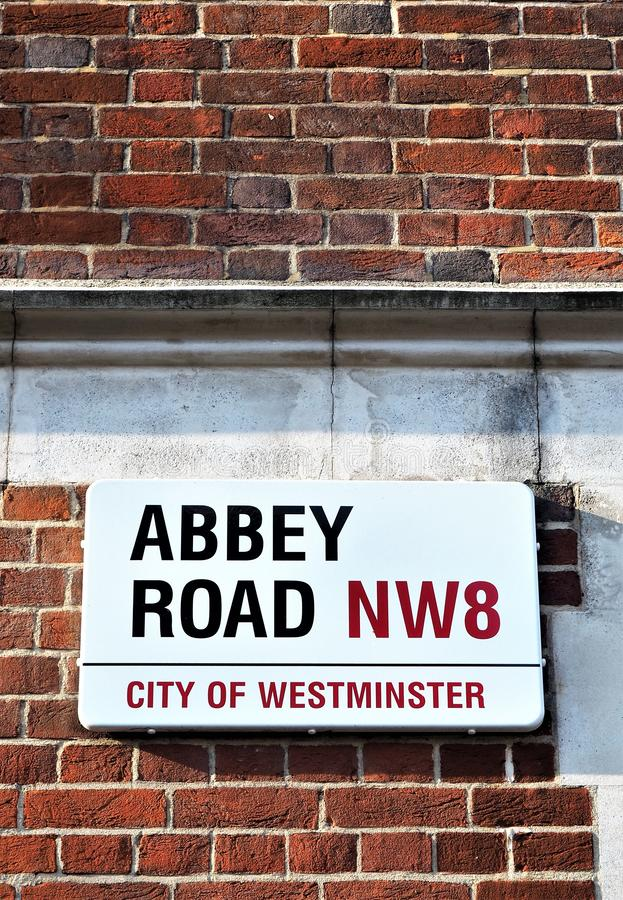 Abbey Road Street Sign North London,. Street sign for the world famous Abbey Road North London where The Beatles Band recorded throughout the 1960s and 1970s royalty free stock image