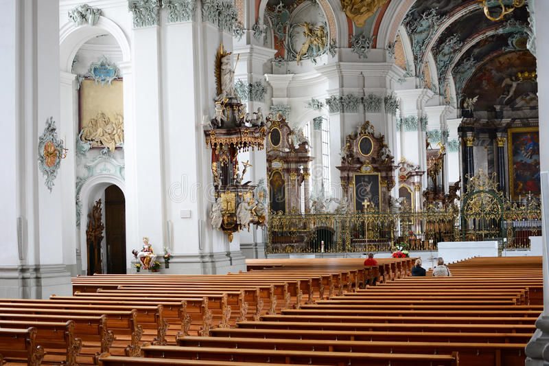The Abbey of Saint Gall Interior. ST. GALLEN, SWITZERLAND - JULY 10, 2014: The Abbey of Saint Gall. The Roman Catholic Cathedral, in existance since 719, has royalty free stock photo