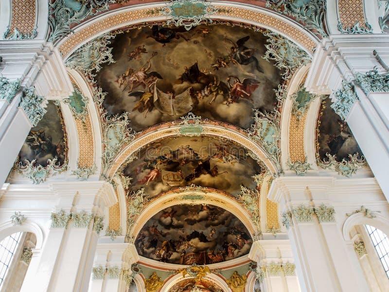 Abbey of Saint Gall, St. Gallen, Switzerland. Beautiful interior decoration of Abbey of Saint Gall, St. Gallen, Switzerland royalty free stock images