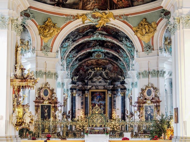 Abbey of Saint Gall, St. Gallen, Switzerland. Beautiful interior decoration of Abbey of Saint Gall, St. Gallen, Switzerland stock images