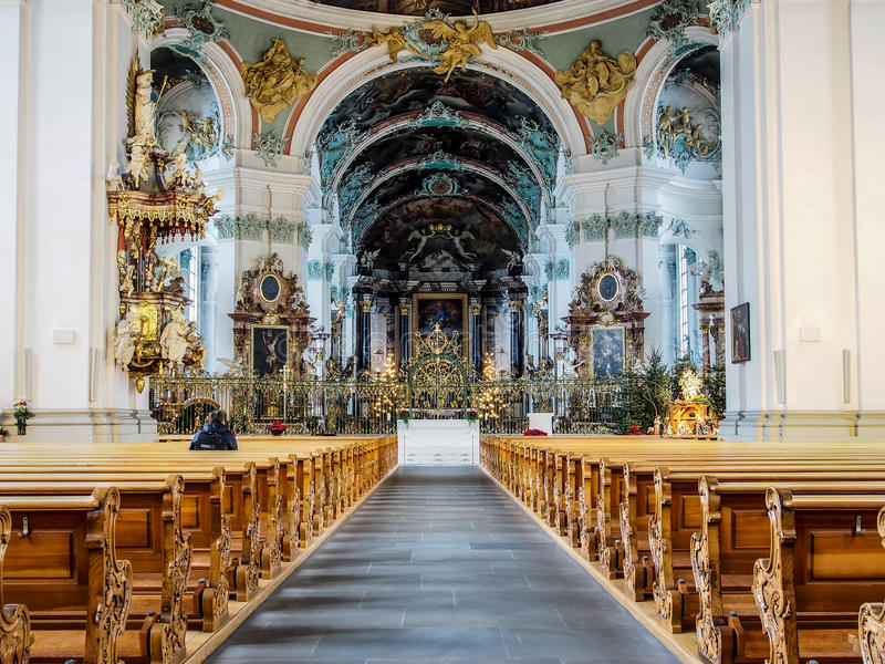 Abbey of Saint Gall, St. Gallen, Switzerland. Beautiful interior decoration of Abbey of Saint Gall, St. Gallen, Switzerland stock photo