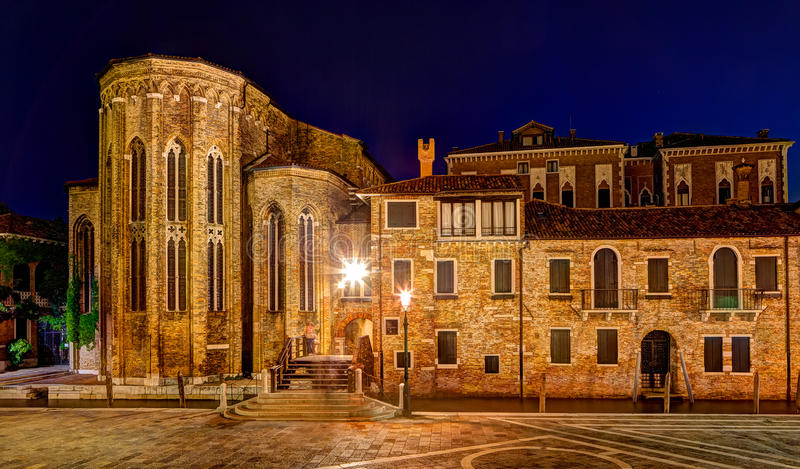 Abbey San Gregorio Venice Italy night royalty free stock images